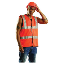 "OccuNomix OCCSSFULLG-OL Large Hi-Viz Orange OccuLux Premium Light Weight Solid Cool Polyester Tricot Class 2 Dual Stripe Full Sleeveless Traffic Vest With Front Hook And Loop Closure And 3M Scotchlite 2"" Silver Reflective Tape"