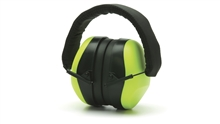Pyramex Hi-Vis Lime Low Profile Design Earmuff, Soft Foam Ear Cups, Fold-Away, Padded Headband, NRR 26dB, Per Pair
