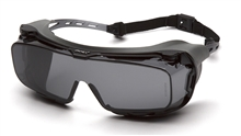 Cappture Dielectric Over Prescription Safety Glasses, Temples Extend From Browbar, Gray Polycarbonate H2X Anti-Fog Lens, With Rubber Gasket, Per Pair