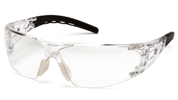 Pyramex Fyxate Dielectric Safety Glasses, Black Rubber Temple Tips and Nosepiece and Frame, Clear Polycarbonate Single Wraparound Lens, Per Pair