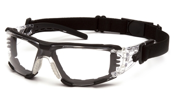 Pyramex Fyxate Dielectric Safety Glasses, Black Rubber Temple Tips and Nosepiece and Frame,  Clear H2XMAX Anti-Fog Polycarbonate Single Wraparound Lens, Foam Padded Per Pair