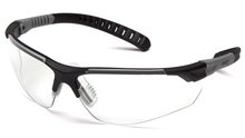 Pyramex Sitecore Safety Glasses, Black and Gray Polycarbonate Frame, Temples with Three Different Lengths, Built-in Rubber Nosepiece, Ratcheting Temples, Clear Polycarbonate Lens,