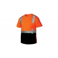"Pyramex Hi-Vis RTS21 Series T-Shirt, Class 2 Hi-Vis Orange Black Bottom, Lightweight Polyester Moisture Wicking, 2"" Silver Reflective Striping, Outside Left Chest Pocket, Per Ea"