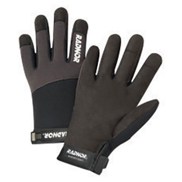 BLACK DURABLE SPANDEX FOAM SYTHENTIC LEATHER PALM ANTI VIBRATION WORK GLOVES