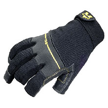 Valeo Mechanics Gloves X Large Black Work Pro Open Finger Medium Duty V235-XL
