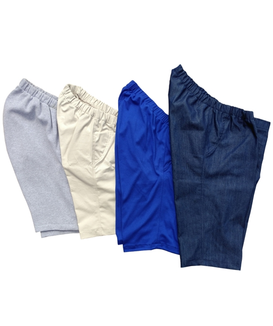 Pre-made wheelchair sitter shorts in denim, twill, sweatshirt fleece or knit - Adaptive Clothing
