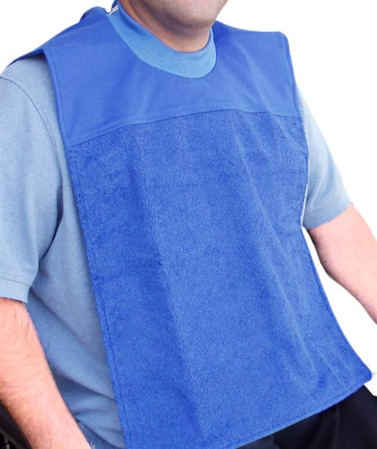 E Z Topp Absorbent Bibs Waterproof Breathable Back Terry Cloth Front - Adaptive Wheelchair Clothing