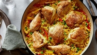 Historic Lynchburg Greek Baked Chicken with Sweet Peppers and Yellow Rice