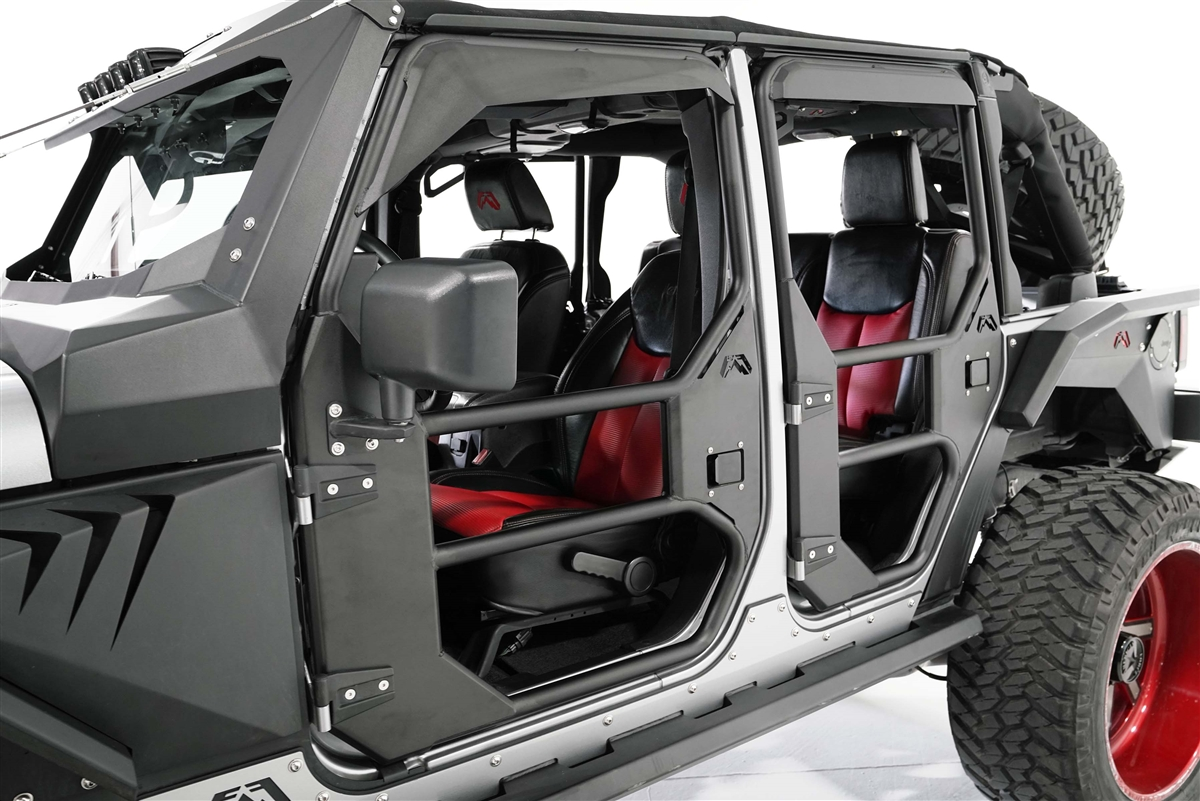 Fab Fours Front Full Tube Door 07 17 Jeep Wrangler Jk Jku Matte Black
