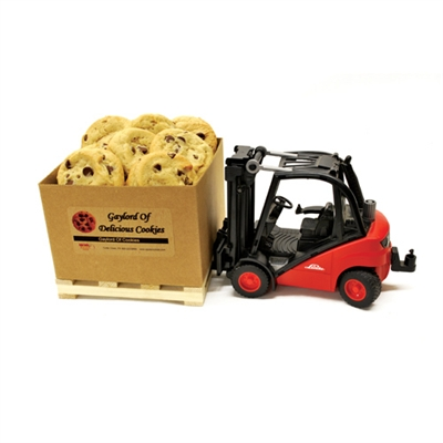 Forklift and Gaylord of Cookies