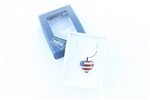 American USA Flag Heart Necklace With Swarovski Crystal Elements