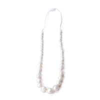 Chew Necklace White Pearls