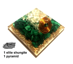 Orgone Pyramid - Fire Element - for creativity & Heart & shungite