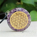 Flower of life Amethyst Orgonite - Orgone pendant