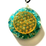 Flower of life Aquamarine Orgonite - Orgone pendant