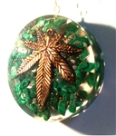 Weed Plant Malachite Orgone pendant - (4G/5G) protector