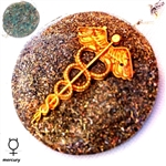 Caduceus Necklace Aquamarine, Mercury Orgone Pendant