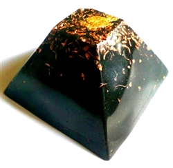 Shungite Orgone Giza 5G Large Pyramid with gold leaf