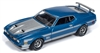 1972 Ford Mustang Mach 1 in Medium Blue Poly w/ Silver Stripes