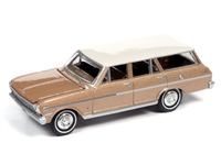 1963 Chevy II Nova 400 Station Wagon in Saddle Tan Poly with Ermine White Roof Auto World Premium - 2021 Release 2A