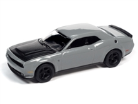 2018 Dodge Challenger Demon in Destroyer Grey with Flat Black Hood Auto World Premium - 2021 Release 2A