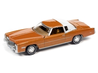 1975 Cadillac Eldorado in Mandarin Orange Metallic with Flat White Roof Back Section   Auto World Premium - 2021 Release 2A