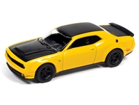 2018 Dodge Challenger Demon in Yellow Jacket with Flat Black Hood, Roof & Trunk Lid  Auto World Premium - 2021 Release 2A