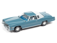 1975 Cadillac Eldorado in Jennifer Blue with Flat White Roof Back Section  Auto World Premium - 2021 Release 2A