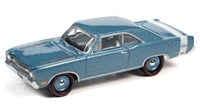 1969 Dodge Dart GTS in B3 Light Blue Iridescent with White GT Sport Rear Stripe Johnny Lightning Muscle Cars 2020 Release 3A