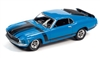 1970 Ford Mustang Boss 302 in Grabber Blue with BOSS 302 Black Side Stripes & Hood Stripes Johnny Lightning Muscle Cars 2020 Release 3A