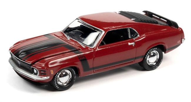 1970 Ford Mustang Boss 302 in Candy Apple Red with BOSS 302 Black Side Stripes & Hood Stripes  Johnny Lightning Muscle Cars 2020 Release 3A