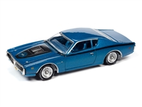 1971 Dodge Charger Super Bee in B5 Blue Metallic & Black Stripes  Johnny Lightning Muscle Cars 2021 Release 1A