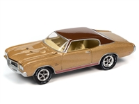 1970 Buick GS in Desert Gold Poly with Flat Brown Roof   Johnny Lightning Muscle Cars 2021 Release 1A