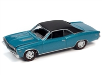 1967 Chevrolet Chevelle SS in Emerald Turquoise with Flat Black Roof Johnny Lightning Muscle Cars 2021 Release 1A