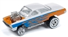 1962 Chevrolet Bel Air Bubbletop in Metallic Orange & Pearl White with Blue Flames - Zingers JOHNNY LIGHTNING STREET FREAKS