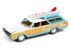 1964 Oldsmobile Vista Cruiser (Surf Rods) in White and Seafoam Green with Wood Paneling JOHNNY LIGHTNING