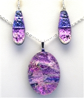 Maui Rainbow Jewelry. Handmade dichroic glass earrings and pendant. Purple and pink sparkle on cobalt glass