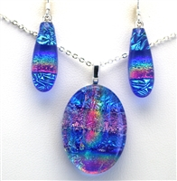 Hawaii fused glass jewelry.  Handmade on Maui. Pendant and Earrings. Ocean and pink sparkle with rainbow on cobalt glass.