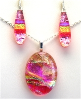 Hawaii fused glass jewelry.  Handmade on Maui. Pendant and Earrings. Pink sparkle with rainbow on coral glass.