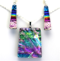 Hawaii fused glass jewelry.  Handmade on Maui. Pendant and Earrings. Ocean and sparkle with rainbow on black glass.