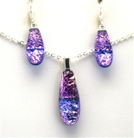 Hawaii fused glass jewelry.  Handmade on Maui. Pendant and Earrings. Purple and pink sparkle on cobalt glass.