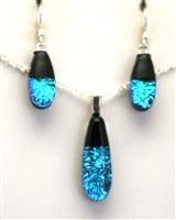 Hawaii fused glass jewelry.  Handmade on Maui. Pendant and Earrings. Ocean sparkle on black glass.
