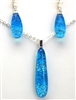 Hawaii fused glass jewelry.  Handmade on Maui. Pendant and Earrings. Ocean sparkle on turquoise glass.