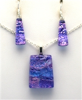 Hawaii fused glass jewelry.  Handmade on Maui. Pendant and Earrings. Purple sparkle on cobalt glass.