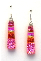 Maui Rainbow Jewelry. Hawaii Fused Glass Jewelry. Pink sparkle and rainbow on coral glass