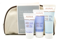 AHAVA  Dead Sea Essential Treatment Set;  Purifying Mud Mask 20ml, 3-in-1 Mineral Toner 25, Smoothing Moisturizer 15ml, Canvas Carrying Case