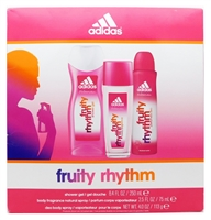 adidas Fruity Rhythm Set: Shower Gel 8.4 Fl Oz., Body Fragrance 2.5 Fl Oz., Deo Body Spray 4 Fl Oz.