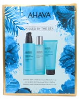 AHAVA Kissed By the Sea Set; Mineral Body Lotion  8.5 fl oz, Dry Oil Body Mist  3.4 fl oz,  Mineral Hand Cream  3.4 fl oz