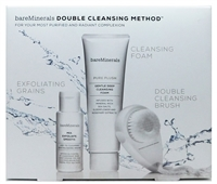 bareMinerals Double Cleansing Method: Mix Exfoliate Smooth Add-To-Cleanser .88 Oz., Pure Plush Gentle Deep Cleansing Foam 1.7 Oz., Vital Power Infusion .25 Fl Oz., Double Cleansing Brush