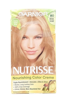 Garnier Nutrisse Nourishing Color Creme 80 Medium Natural Blonde One Application